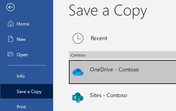 Captura de pantalla de la opción Guardar una copia de Word