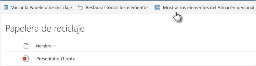 """Vista de la papelera de reciclaje de OneDrive donde se muestra la opción """"Mostrar elementos del almacén personal"""""""