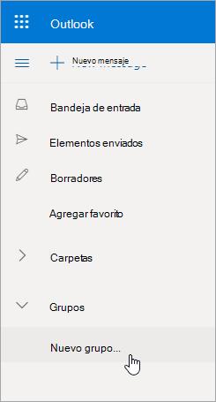 Nueva ubicación de grupo en Outlook.com lista de carpetas