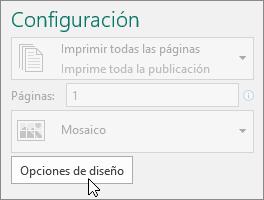 Opciones de diseño en la configuración de la impresora de Publisher.