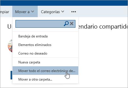 Una captura de pantalla en la que se muestra la opción Mover todo el correo electrónico de