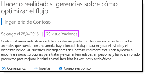 Vistas de las estadísticas de vídeo de Office 365