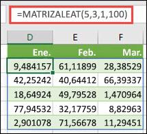 Función MATRIZALEAT con argumentos Min, Max y Decimal