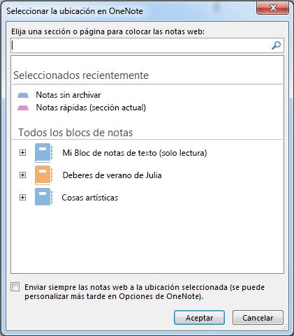 Cuadro de diálogo Seleccionar ubicación en OneNote