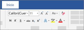 Opciones de formato de texto en la cinta de opciones de Word