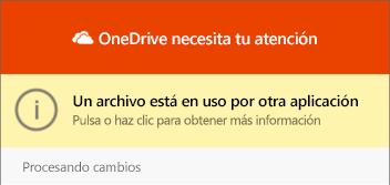 "Cuadro de diálogo ""archivo en uso"" de OneDrive"