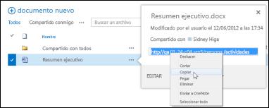 Dirección URL de un documento de SharePoint en el globo del documento