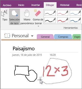Captura de pantalla de cómo usar el botón Selección de lazo en OneNote 2016.