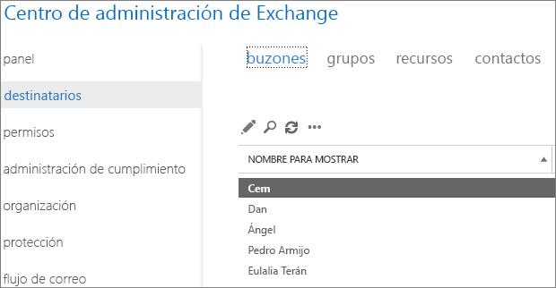 Buscar buzones en el Centro de administración de Exchange para corregir el DSN 5.7.134