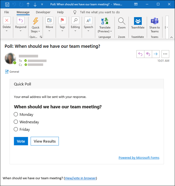 Sondeo de Microsoft Forms en un mensaje de correo electrónico de Outlook