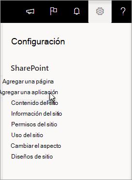 Menú Configuración con la opción Agregar una aplicación resaltada