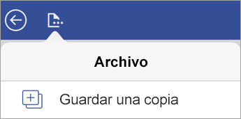 Opción para guardar una copia de un archivo en Visio Viewer para iPad