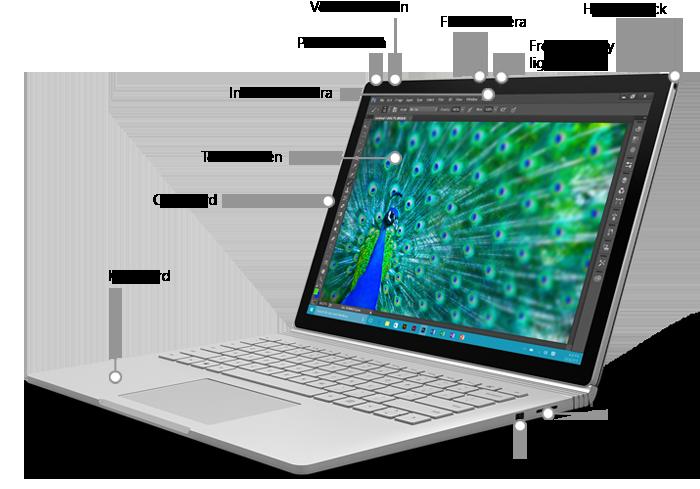 Características de la parte delantera de Surface Book