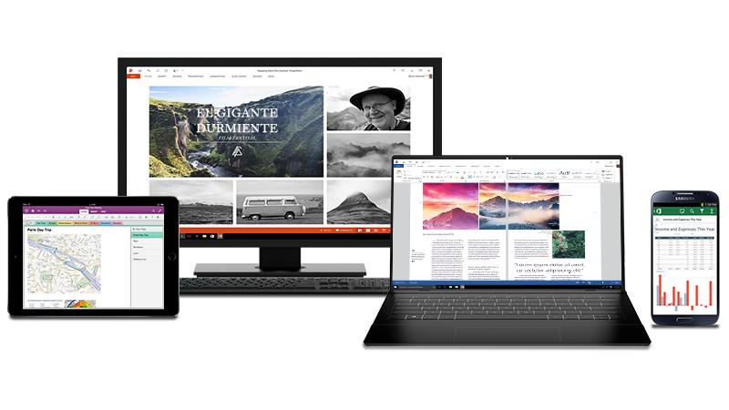 Equipo, iPad y fotografías de teléfono Android con documentos de Office abiertos en las pantallas