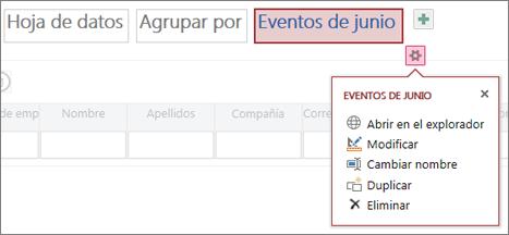 editar las propiedades de una hoja de datos de una aplicación