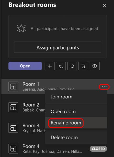 Imagen que muestra cómo cambiar el nombre de un salón de descanso.