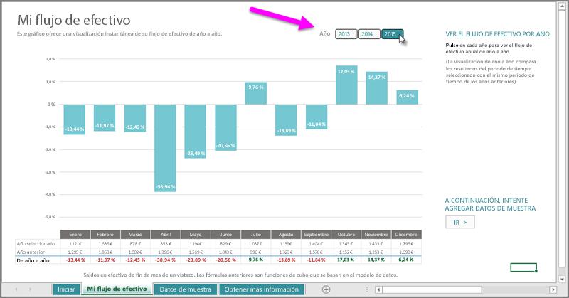 Segmentación anual de Mi flujo de efectivo