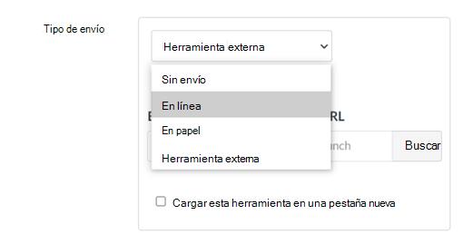 Lista desplegable tipo de envío con la opción En línea resaltada