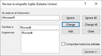 Captura de pantalla del cuadro de diálogo Revisar ortografía en Publisher