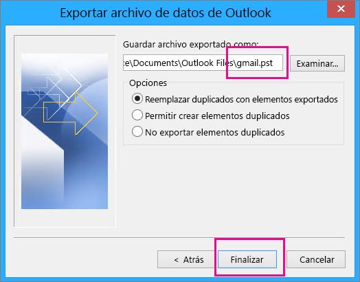 Busque la ubicación en donde quiere crear el archivo pst que almacenará los mensajes de Gmail y escriba un nombre para el archivo pst.