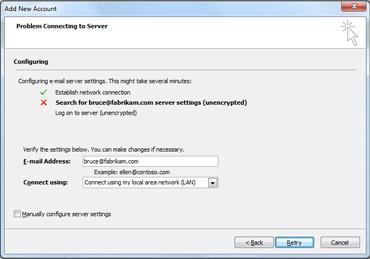 Cuadro de diálogo Agregar nueva cuenta que indica que no se puede configurar la cuenta