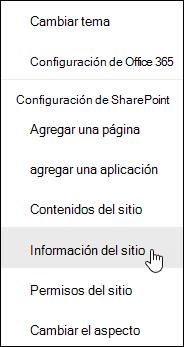 Vínculo de información del sitio de SharePoint