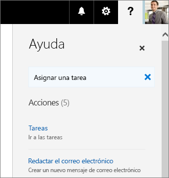 Captura de pantalla del panel de Ayuda de Planner con Asignar una tarea en el cuadro Dígame qué desea hacer.