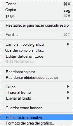 Menú contextual de gráficos con la opción texto alternativo seleccionada.