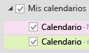 Sus calendarios se muestran en Mis calendarios. Active las casillas de los calendarios que desee ver.