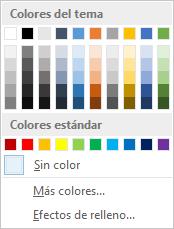 Opciones de color de página en la cinta de opciones