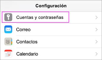 Configuración del dispositivo > Cuentas y contraseñas