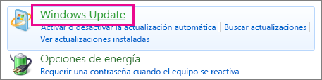 Vínculo de Windows Update del Panel de control