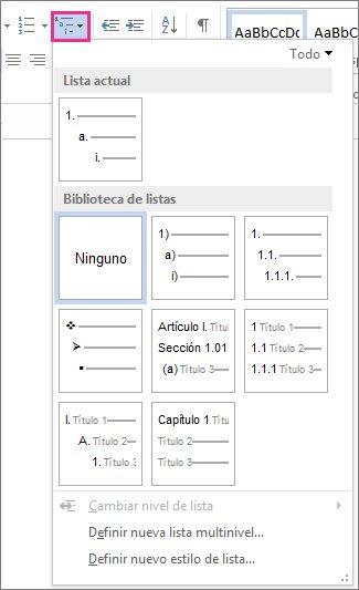 Estilos de lista de varios niveles de Word2010
