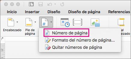 En la pestaña Encabezado y pie de página, haga clic en Número de página, en el menú Número de página, para agregar uno.