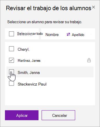 Seleccione la casilla para bloquear una página de estudiante individual.