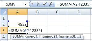Uso de la función SUMA para sumar una celda y un valor