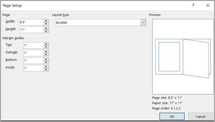 Tipo de diseño de cuadro de diálogo Configurar página