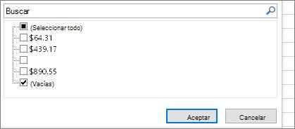 Menú Filtro con la casilla Seleccionar todo no seleccionada, casilla de verificación (espacios en blanco) seleccionada