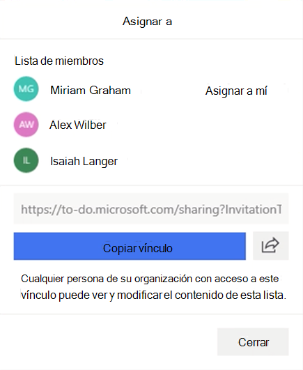 Captura de pantalla con el menú asignar a y la opción para asignar una tarea a miembros de lista Miriam Graham, Alex Wilber o Isaiah Langer.