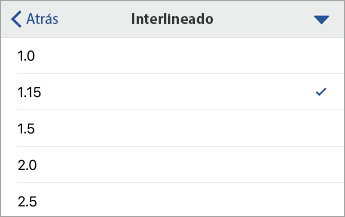 Comando Interlineado que muestra las opciones de formato, con 1,15 seleccionado