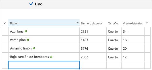 Pantalla de edición rápida con columnas y datos agregados