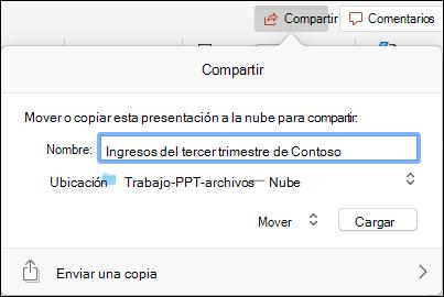 Cuadro de diálogo que ofrece cargar la presentación en el almacenamiento en la nube de Microsoft para su uso compartido perfecto.