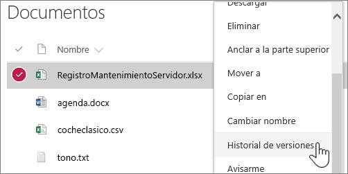 Menú contextual de la biblioteca de documentos con la opción Historial de versiones resaltada