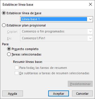 Captura de pantalla del cuadro de diálogo Establecer línea base.