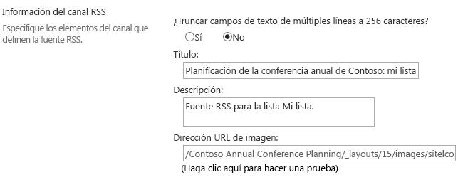 Información del canal de fuentes RSS