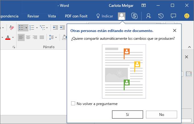 Captura de pantalla que muestra que otras personas están editando este documento