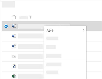 Captura de pantalla que muestra el menú contextual de un archivo seleccionado