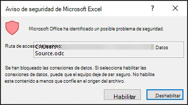 Aviso de seguridad de Microsoft Excel: indica que Excel ha identificado un posible problema de seguridad. Elija Habilitar si confía en la ubicación del archivo de origen, desHabilitar si no lo ha habilitado.