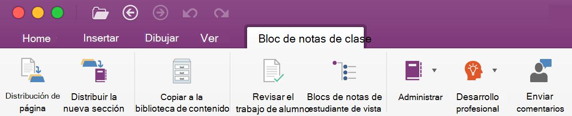Herramientas de administración de Bloc de notas de clase en la cinta de opciones