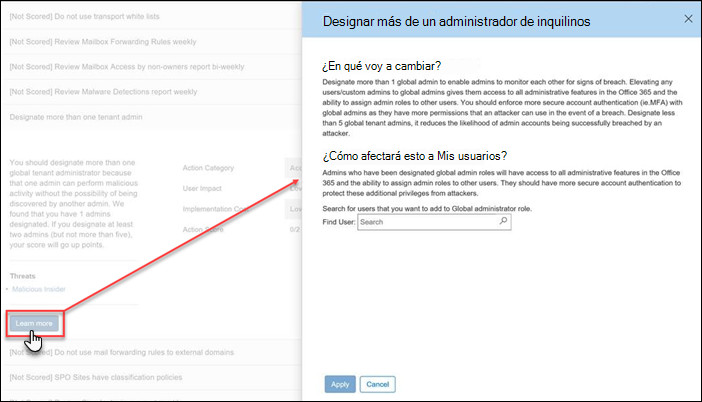 Acción expandida de la herramienta de Office 365 seguro puntuación
